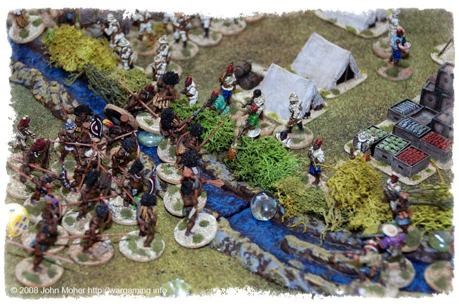 On the creek side the Askari take heavily casualties, and the civilian militia make a brave flank attack...