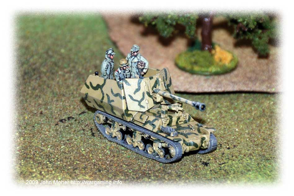 A Marder I waits somewhat casually (a partially painted Skytrex/Hinchliffe model with AB Figures crewmen).