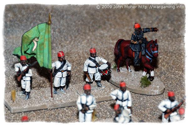 The Egyptian Fellahin Battalion's HQ & (mounted) Commander.
