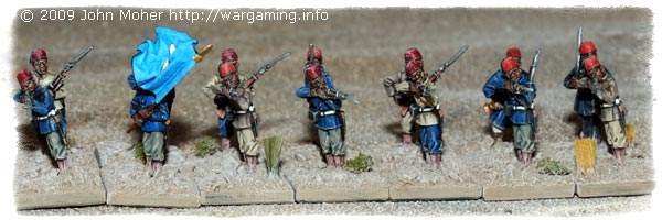 28mm Perry's Sudanese Infantry (Blue Flag identifies them as the 1st Company).