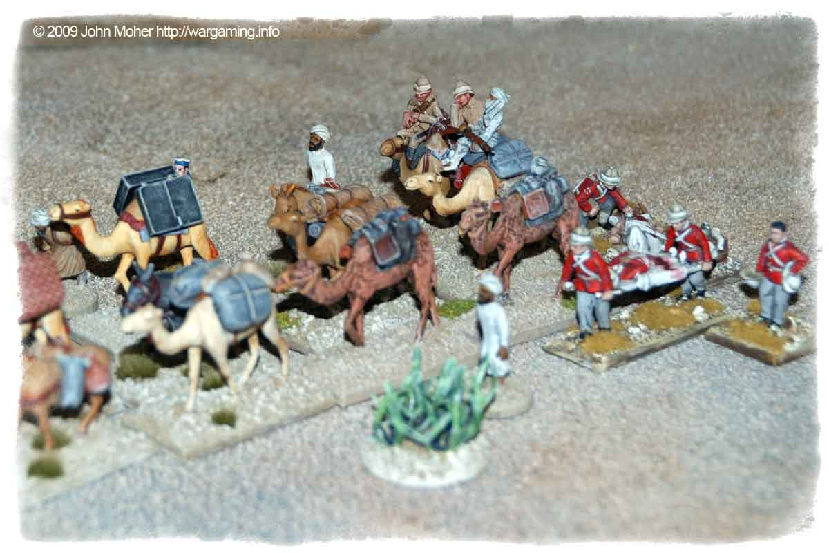 Closer view of the Baggage Train (Baggage Camels & Figures are Castaway Arts, the Hospital Corps and N.B. Sailor are Perry Miniatures).