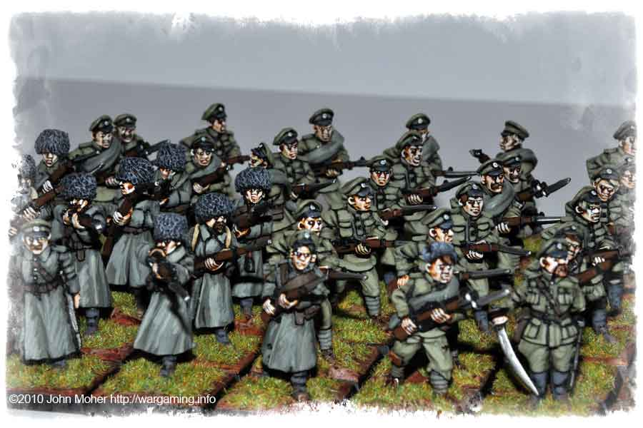 More of the well campaigned Russian Infantry with Copplestone Siberians on left.