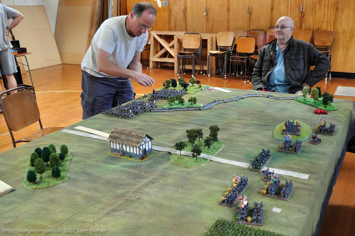 Deployment: Cam places the last of the French attackers, another AWC member (Paul) looks on.