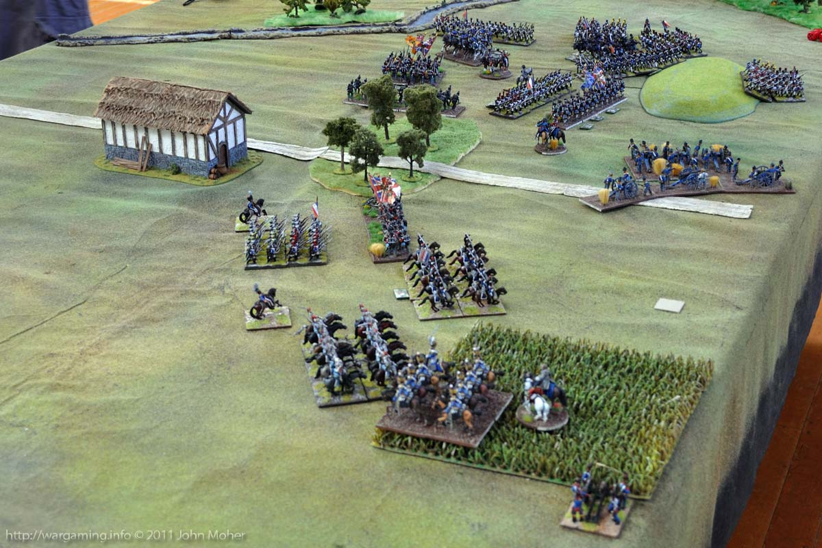 End of Turn 17: The 7th Hussars (foreground) and Cameron Highlanders (centre) have been destroyed and the Brunswick Hussars are trapped in the cauldron (top).