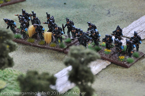 Turn 2: The 1/95th Rifles dash for the Woods in (Irregular) Skirmish Order