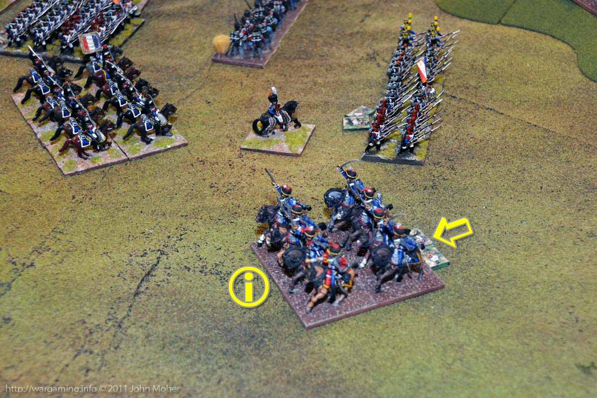 Early Turn 11 - Some faint hope for the British - the 1/2nd Ligne's square collapses to the 7th Hussars!