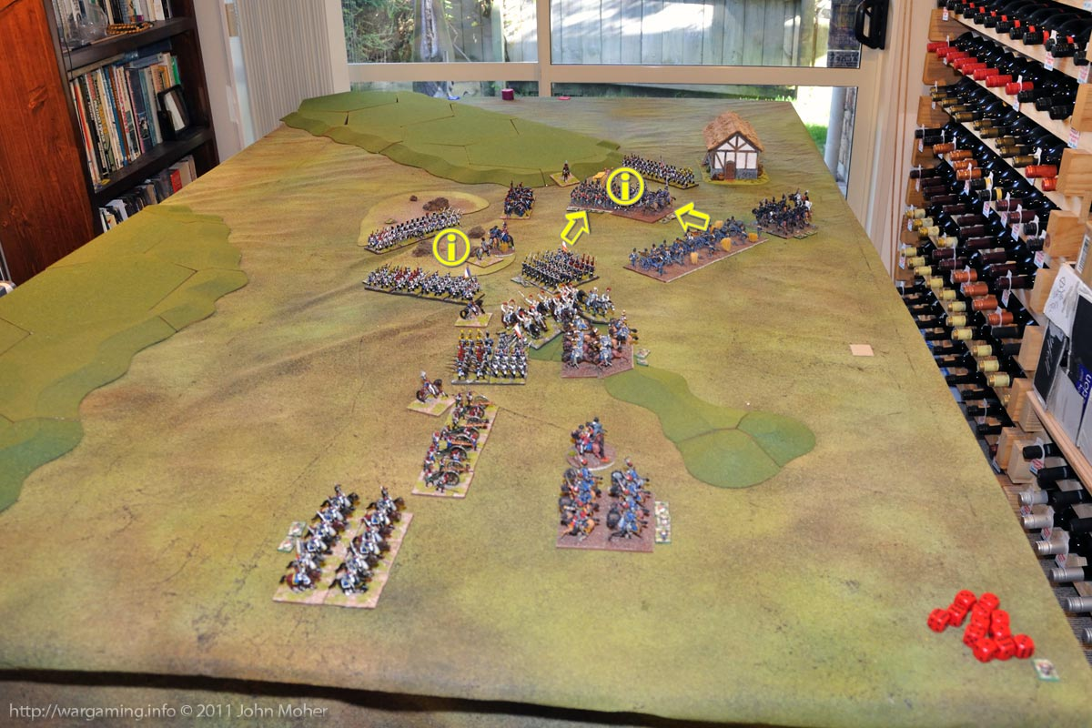 End of Turn 15 - The II/1st Ligne is destroyed, but the 1/95th Rifles succumbs to French Musketry as well.