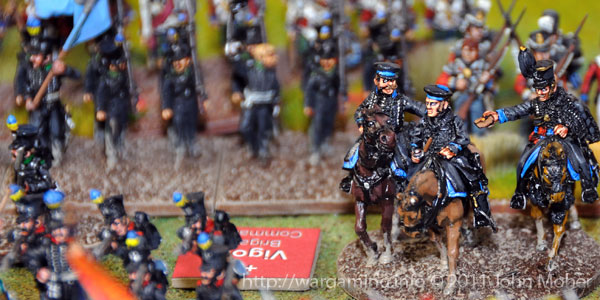 Frederick William, Herzog von Braunschweig-Wolfenbüttel-Oels (Duke of Brunswick), leads his forces in the action at 'The Crossroads'.