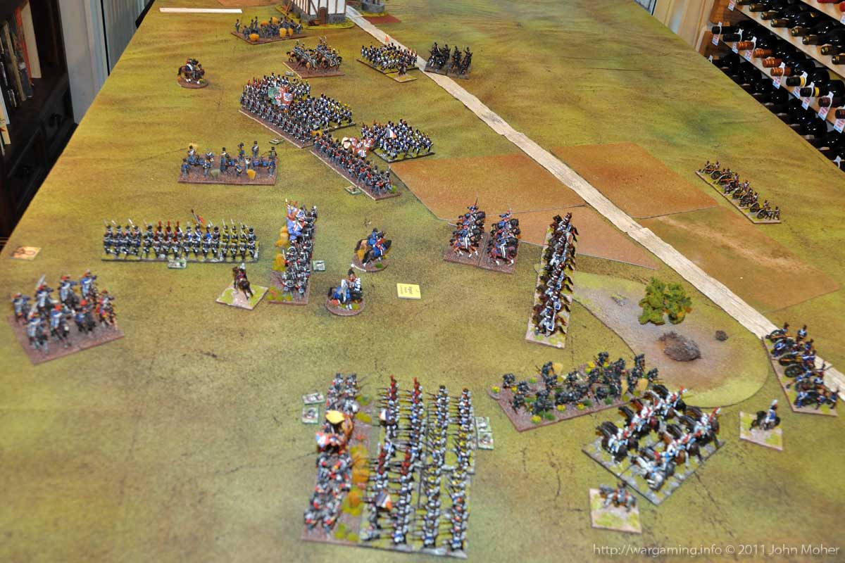 End of Turn 13 - The French continue to press forward, despite the loss of the II/3e Ligne (top of picture).