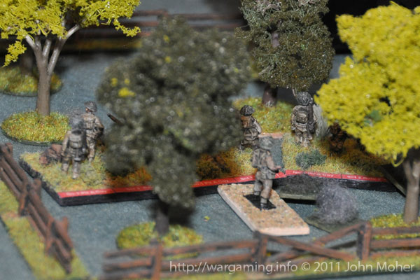 '1' Platoon make the final advance on the right - although the going was slow...