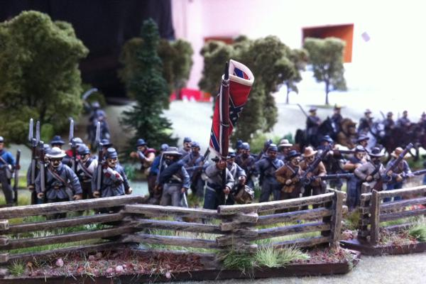 Regiment of Johnny Rebs in the Black Powder game - figures & terrain by Roundie Steward of the AWC.