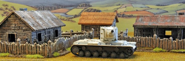 A KV-2 looks menacing in front of the Area 9 Buildings & Fences