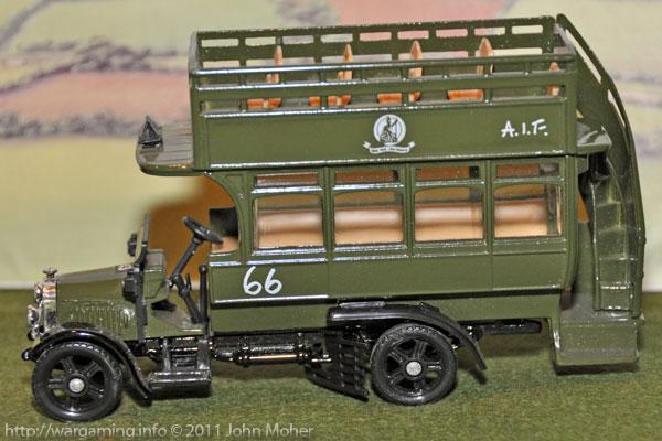 Close up of the Corgi Models 1914 A.E.C. Omnibus