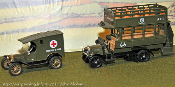 Corgi Models Model-T Ford Ambulance and A.E.C. Omnibus