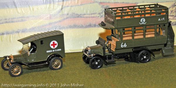 Corgi Models Model-T Ford Ambulance and A.E.C. Omnibus