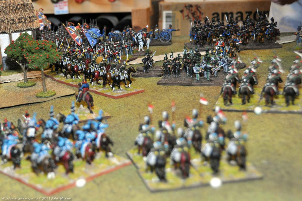 Turn 9 - View from behind the French Centre - 1er Hussars & 5e Lanciers Légère in foreground