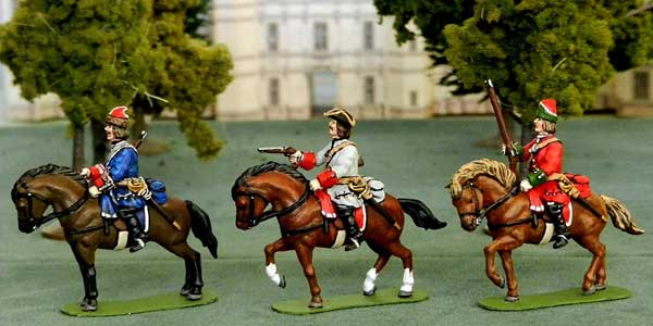 WF WSS Cavalry as French Grenadier a Cheval de la Maison du Roi, Line Trooper and a Dragoon, by Steve Cady (of Castles of Tin)