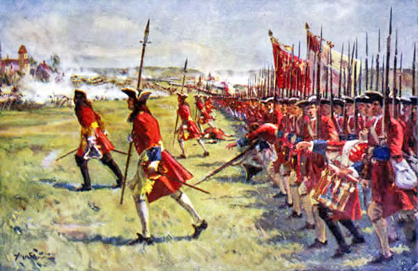 Brigadier Rowe leads the British infantry to the assault on the village of Blenheim 1704