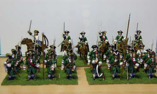 Brigadier Gaillard's brigade of the army of the Duchy of Veloires, these Wargames Factory units are just awaiting their banners - from the Platoon Fire blog.
