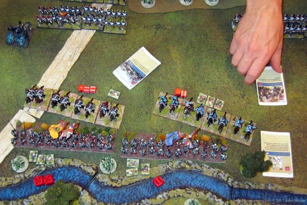 Gendarmerie de France & Regiment de le Roi, etc, successfully charge the Allied infantry