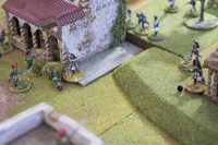 Action rapidly gets to close quarters in the centre of the village - the somewhat tardy French Infantry are gradually arriving to support my Dragoons against the Nassau Carabiniers.