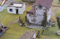 The fight with the Nassau-Usingen Carabiniers in the centre. Two have been wounded or killed, 1 is sniping from a rooftop (out of picture to the left), and a Dragoon & French Infantryman are fighting the remaining Carabinier and their Officer.