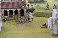 One Carabinier has been despatched in the mêlée and a Dragoon and French Infantryman face off against another and the Nassau-Usingen Officer.