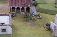 It's a brutal fight - my Dragoon is up to it, but the French Infantryman and the Nassau Carabinier have trouble keeping their feet! However my Dragoon is about to despatch the Nassau Carabinier Officer and send the Nassau troops fleeing in some panic! In the foreground my Dragoon NCO is working his way behind the Nassauers...