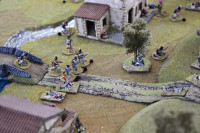 The British continue to hold their line by the bridge, with the more Veteran men moving forward to skirmish. Meanwhile the Nassau-Usingen survivors morale is about to completely fail with the death of their NCO and they will retire for good...