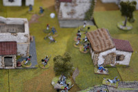 The end is near - The British Officer has gone down, and the British Sergeant is about to follow (both in the centre of picture) - with the loss of their leaders the surviving British follow the Nassau-Usingen troops back across the stream, and the village is successfully in French hands for the evening...