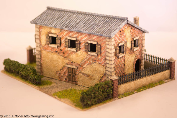 1/72 Italeri Country House with Porch - Left Rear Three-Quarter View