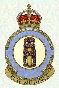 """487 Squadron Tiki Crest & Motto """"Through to the End"""" RNZAF 1943"""