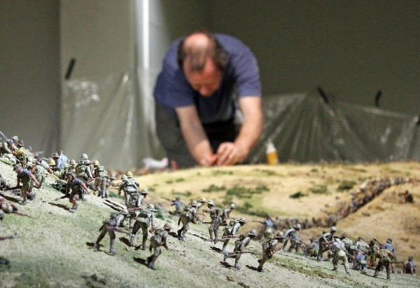 Part of Sir Peter Jackson's Chunuk Bair 2015 Diorama being set up at The Great War Exhibit.