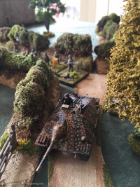 British first counter attack continues, PIAT shot at the rear of the second Hetzer