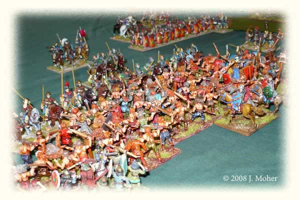 Roman Cavalry fight the fight of their lives; they proved stout defenders, allowing the Auxilia on their left to inflict casualties and start turning the German's right flank.