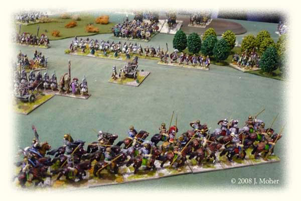 Centre right - Auxilia and Archers advance on the Sabir Huns & Elephants supported by one Cart mounted Scorpion.
