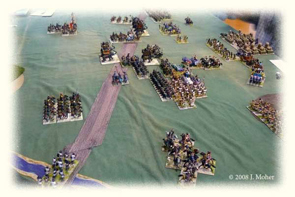 Kushite Egyptians (with flank march left-foreground) engage the Sassanid Persians.