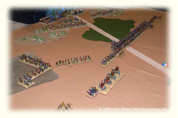 The battle commences - the Kushan army rapidly advances toward the Kushites.
