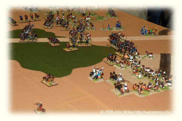 Near the end - showing the major breakthrough by the Kushans in the centre with Cam's Cataphracts heading for the baggage, but also highlighting the Kushite success on the Kushan right - where Cam's Chionites are noticeably absent in the foreground!