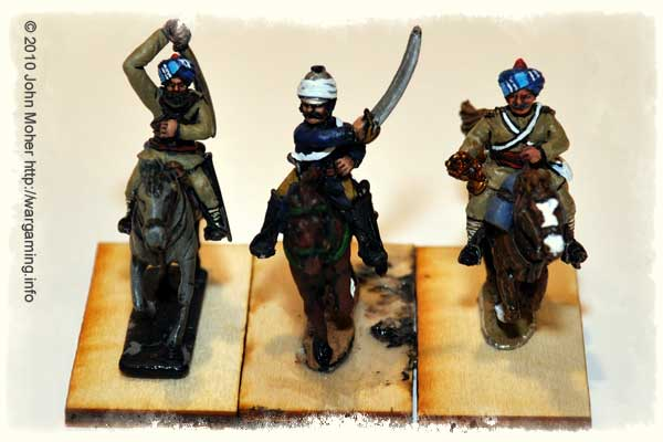 Headquarters of the (Muslim) Bengal Lancer Squadron - L to R: Castaway, Foundry, and Perry Figures.