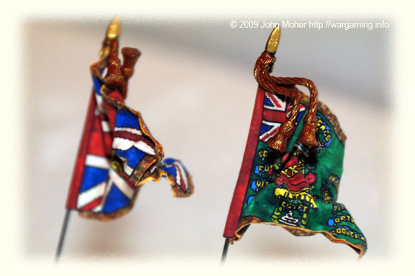 A close up of the 24th Foot Kings Colour & Regimental Standard for the Zulu War