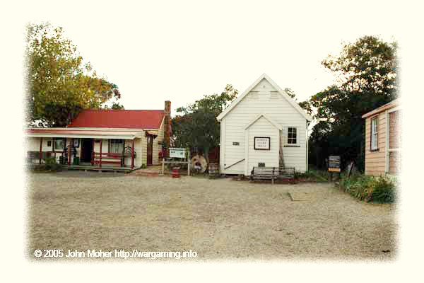 Typical more substantial Settlement Buildings. The white one in the centre is the actual old Howick Courthouse.