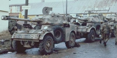 Argentine AML-90's surrendered at Port Stanley - there were 12 present, 6 at Stanley and 6 at Moody Brook.