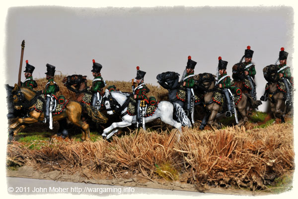 French Chasseur-a-Cheval rush to the front through fields of barley