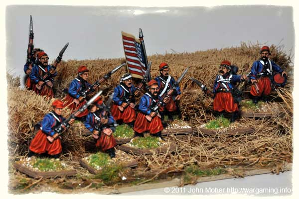 Union Zouaves hurriedly deploy in a wheat field