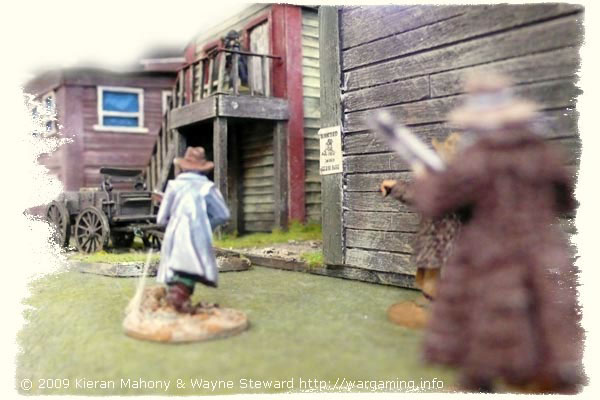 ...and the gunslingers slink into town the back way!