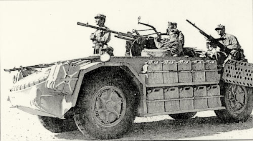 "A Sahariano in North Africa, March 1943, crewed by the PAI. It is part of the ""103rd Compagnie Arditi Camionettisti"", half of which fought on the Tunisian Front and the other half on the Libyan Front."