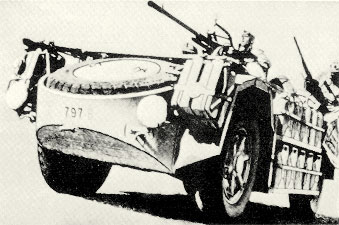 "This picture shows vehicle 797 B, from the original ""Raggruppamento Sahariano AS""."