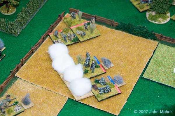"Uh Oh! As the 3"" Mortar Section fires the last of it's smoke, the German MMG Bunker is overrun by a Close Assault and the remains of the German Platoon are caught in a pincer."