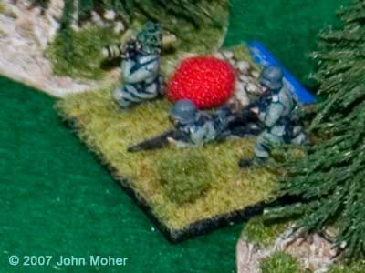 Slightly blurry Daimler killers! The successful Panzerfaust firers, have subsequently gone 'No Fire' (red ball) in a later initiative reacting to movements by 3 Platoon.